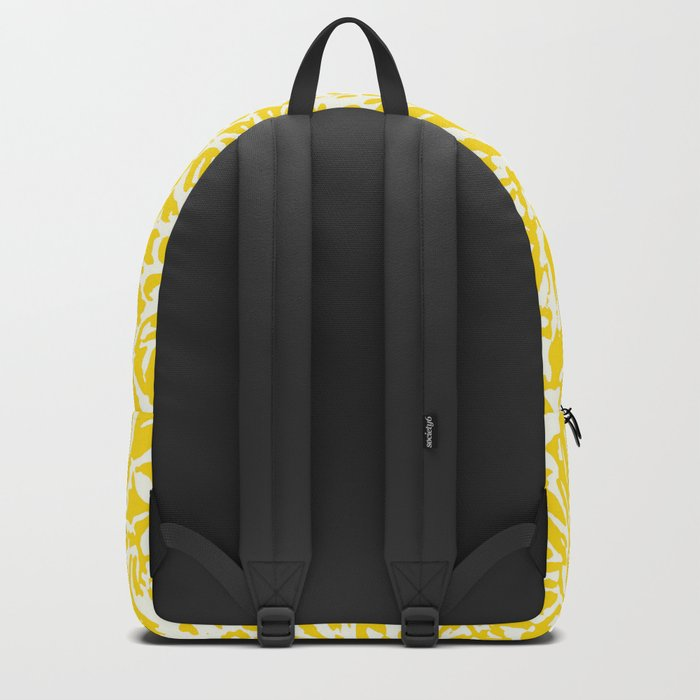 Marigold Lino Cut, Mustard Yellow Backpack
