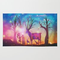 magical girl Area & Throw Rugs featuring Girl meeting magical forest animals by Psychedelic Astronaut