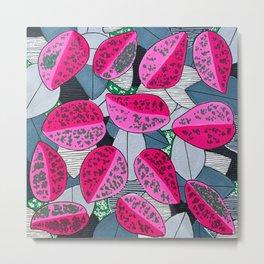 Pink Chinese Money Plant Art Print Pattern Metal Print