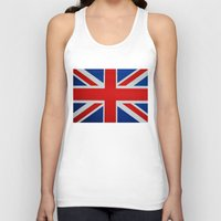 union jack Tank Tops featuring Union Jack by MICHELLE MURPHY