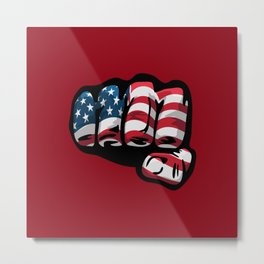 American Flag Fist Metal Print