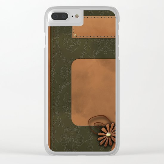 """A series of """"Covers for notebooks"""" . Brown and green leather. Clear iPhone Case"""