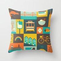 san francisco Throw Pillows featuring San Francisco by Ariel Wilson