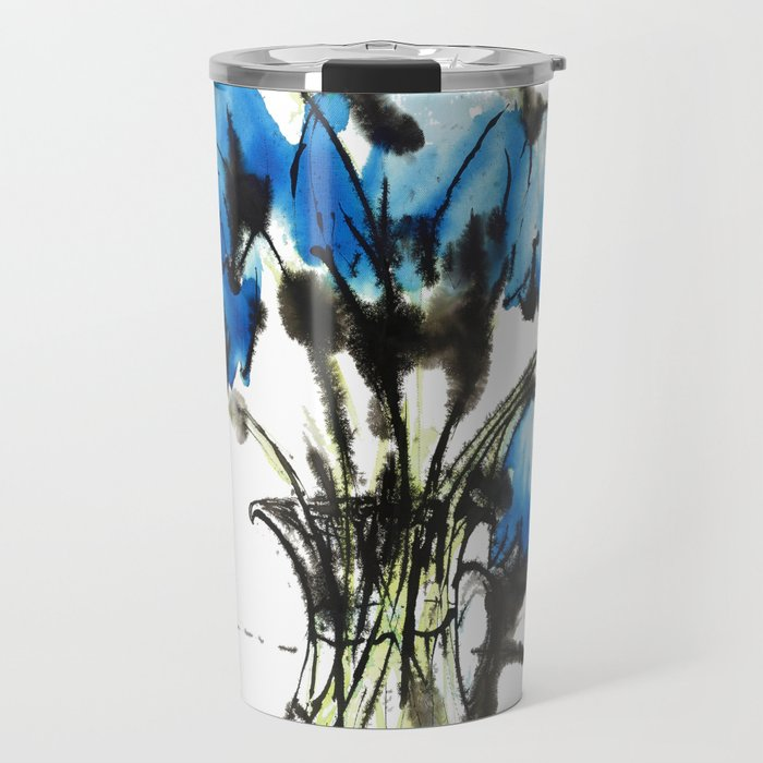 Music Clear and Blue: an elegant design of beautiful bellflowers in a glass vase Travel Mug
