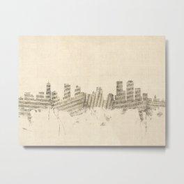 Denver Colorado Skyline Sheet Music Cityscape Metal Print