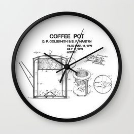 Coffee pot Goldsmith Martyn patent art 1899 Wall Clock