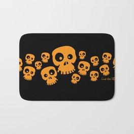 Skulls Fun - orange/black Bath Mat