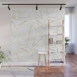 Modern Minimalist Gold White Strokes Triangles Wall Mural