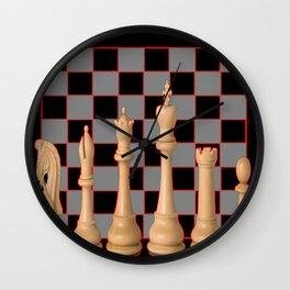 IVORY CHESS SET & ABSTRACT BLACK- GREY BOARD Wall Clock