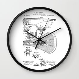 patent art Broadbent Saddle for Velocipedes 1893 Wall Clock
