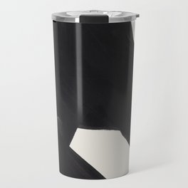 Mid Century Modern Minimalist Abstract Art Brush Strokes Black & White Ink Art Color Field Maze Travel Mug