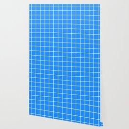 Dodger blue - turquoise color - White Lines Grid Pattern Wallpaper