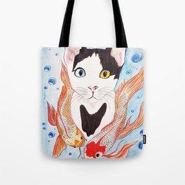 Cat and koi Tote Bag