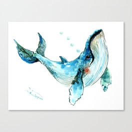 Humpback Whale Artwork Children Illustration Cute little Whale, whale design Canvas Print