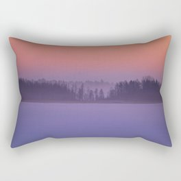Foggy Winter Evening With Beautiful Sunset Colors In The Sky #decor #buyart #society6 Rectangular Pillow