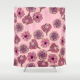 Girly Pink and Black Painted Flowers and Gold Shower Curtain