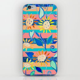 zakiaz cobalt flower stripe iPhone Skin