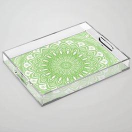 Light Lime Green Mandala Simple Minimal Minimalistic Acrylic Tray