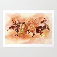 zuko Art Prints featuring Team Avatar by TiuanaRui