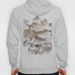 180630 Abstract Watercolour Grey Black Brown Neutral 20 | Watercolor Brush Strokes Hoody