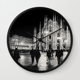 Black and White Duomo Piazza Night Scene, Milan City, Italy Wall Clock