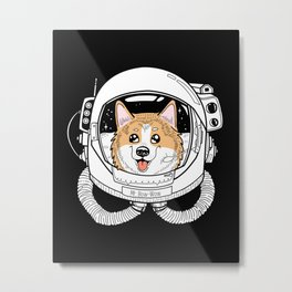 Space Corgi Metal Print