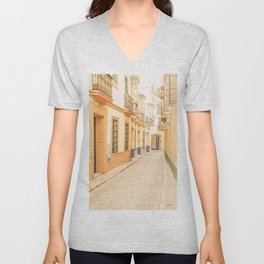 Seville I [ Andalusia, Spain ] Yellow spanish street⎪Colorful travel photography Poster Unisex V-Neck