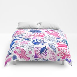 Hand painted blush pink blue watercolor nautical sea pattern Comforters