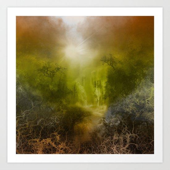 gold forest landscape Art Print