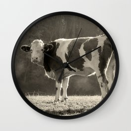 Cow in Field Wall Clock