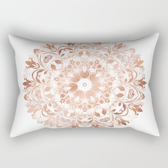 Rose Gold Floral Mandala Rectangular Pillow