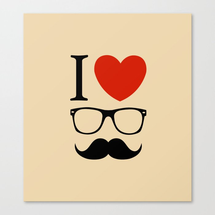 I love glasses and mustaches Canvas Print