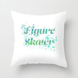 Figure Skater Watercolor Digital Painting Design Throw Pillow