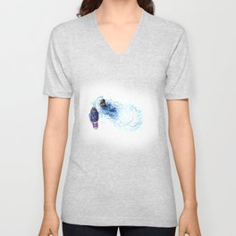 Ninja Stealthily Disappears into Bubble Bath Unisex V-Neck