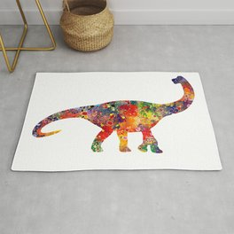 Brachiosaurus Art Dinosaur Nursery Decor Wild Animals Kids Room Watercolor Pint Colorful Art Rug