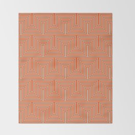 Doors & corners op art pattern in orange and beige Throw Blanket