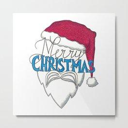 Santa Design - Merry Christmas Metal Print