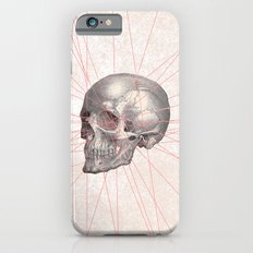 Abstract Gray Vintage Skull Modern Pink Stripes iPhone 6 Slim Case
