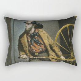 Historical American Firefighter Illustration (1858) Rectangular Pillow