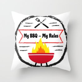 Grilling My BBQ My Rules Barbeque fun Throw Pillow