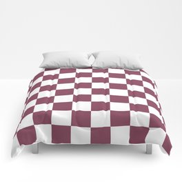 Purple, Mulberry: Checkered Pattern Comforters