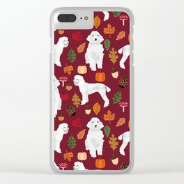 Poodle fall autumn leaves acorns pinecones cute standard white poodles Clear iPhone Case