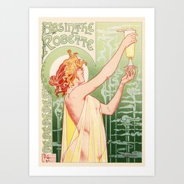 Absinthe Robette 1896 by Henri Privat Livemont Art Nouveau Vintage Poster 1896 Artwork for Prints Po Art Print