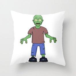Scared Zombie Throw Pillow