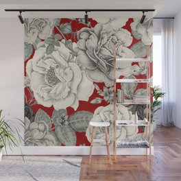 SEPIA FLOWERS ON RED Wall Mural