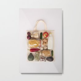 Eco bag with fruits and vegetables, glass jars with beans, lentils, pasta Metal Print