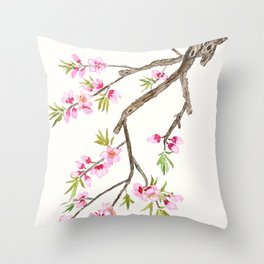 pink peach flowers Throw Pillow