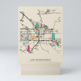 Colorful City Maps: San Bernardino, California Mini Art Print