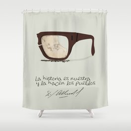 Salvador Allende Lente - TrincheraCreativ Shower Curtain