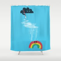 rain Shower Curtains featuring Rain Rain Go Away by Picomodi